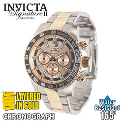 Invicta Chronograph Watch - Gold Dial  Model# 7408