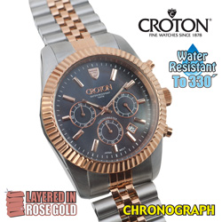 Croton Rose Gold Chronograph Watch  Model# CC311326TTRG