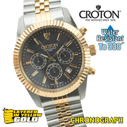 Croton Gold Chronograph Watch  Model# CC311326TTYL