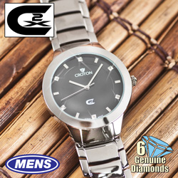 Mens 6 Diamond Watch - Silver  Model# CX328018SLBD