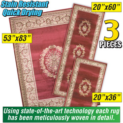 3 Piece Red Rug Set  Model# FLORAL MEDALLION RED