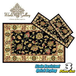 3-Piece Rug Set - Black  Model# 5810