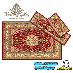 3-Piece Rug Set - Burgundy  Model# 5840