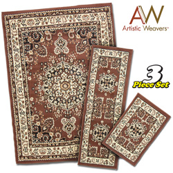 3-Piece Apex Rug Set - Brown  Model# AWAPEX2006-3PC