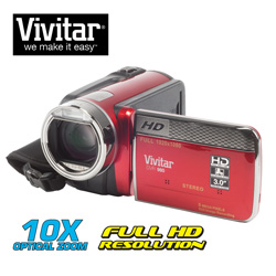 Vivitar 1080HD Camera/Camcorder Kit&nbsp;&nbsp;Model#&nbsp;DVR980-RED/KIT-HRT