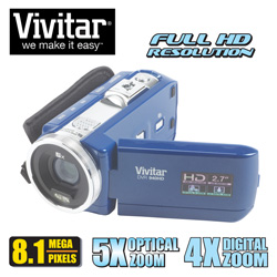 Vivitar 8MB HD Camcorder Kit&nbsp;&nbsp;Model#&nbsp;DVR940-BLU/KIT-HRT