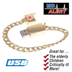 Gold Medical Alert Bracelet&nbsp;&nbsp;Model#&nbsp;11-0009