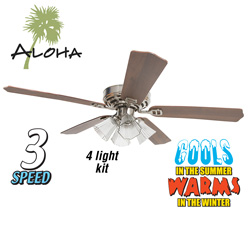 Aloha Satin Nickel Ceiling Fan - 52 inch  Model# 29084