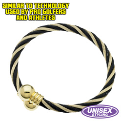 Magnetic Bracelet - Gold/Black  Model# MB102