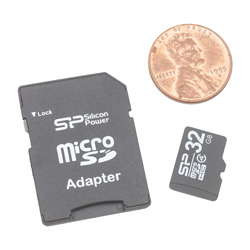 Micro SD Card with SD Adapter- 32GB  Model# SP32GBSDHCM-02