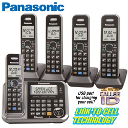 Panasonic 5-Handset Phone System with Link-2 -Cell  Model# KX-TG7875S