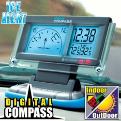 Digital Car Compass With Temperature & Ice Alert  Model# 1436