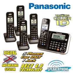 Panasonic 5-Handset Phone System  Model# KX-TG6845