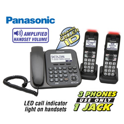 Panasonic 3-Handset Corded/ Cordless Phone  Model# KX-TG4772B