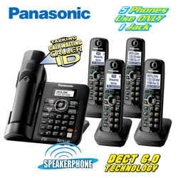 Panasonic 5-Handset Phone System&nbsp;&nbsp;Model#&nbsp;KX-TG6645B
