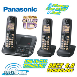 Panasonic 3-Handset Phone with Link 2 Cell  Model# KX-TG7623B