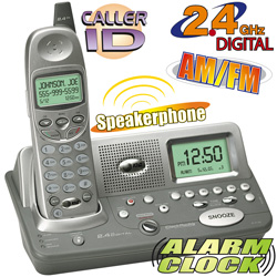 AT&T 2.4GHz Cordless Phone With Alarm Clock/ Radio  Model# E2120