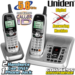 Uniden 5.8GHz Dual Handset Cordless Phone With Answering Machine  Model# DXAI55882B