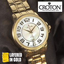 Croton Gold Big Number Watch  Model# CN307409YLDW