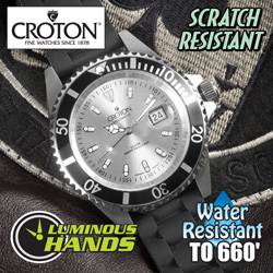 Silver Croton Sport Divers Strap Watch&nbsp;&nbsp;Model#&nbsp;CA301157BSSL