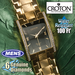 Mens Croton Diamond/Gold Watch  Model# CN307426YLBK