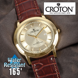Croton Gold-Plated Dress Watch&nbsp;&nbsp;Model#&nbsp;CN307381BRCH