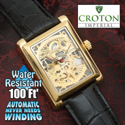 Croton Automatic Rectangle Watch  Model# CI331066BSSK