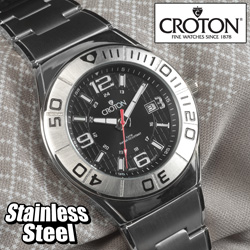 Croton Sport Black Dial Watch  Model# CA301237SSBK