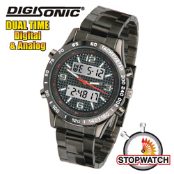 DigiSonic Analog/Digital Watch - Black  Model# 8378-BL