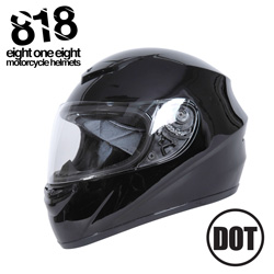 818 Full Face Motorcycle Helmet  Model# H-330BLK-L