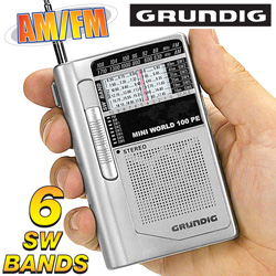 Grundig Mini World Shortwave AM/ FM 100 PE Radio  Model# MINI100PE