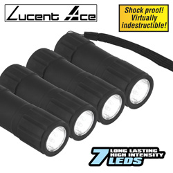 4 Pack 7 LED Shockproof Flashlights  Model# DFL5802