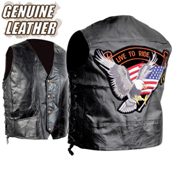 Leather Motorcycle Vest  Model# GFVEMBPT3X