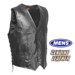 Genuine Hog Leather Vest  Model# GFVLACE