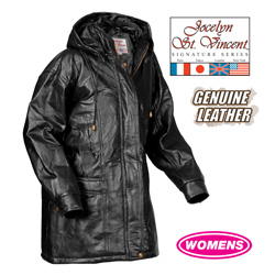 Leather Hooded Coat - Black  Model# BLK-PY-031