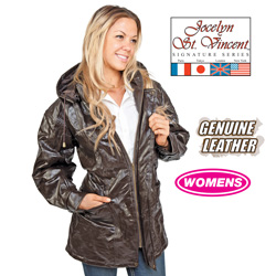 Leather Hooded Coat - Brown  Model# BRN-PY-032