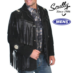 Boar Leather Fringe Jacket - Black&nbsp;&nbsp;Model#&nbsp;758-BLACK