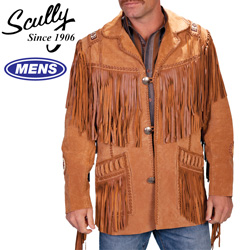 Boar Leather Fringe Jacket - Bourbon  Model# 758-BOURBON