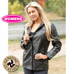 Womens Leather Patch Jacket  Model# D61-BLACK