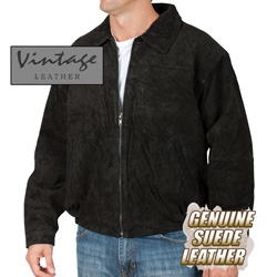 Black Suede Bomber Jacket&nbsp;&nbsp;Model#&nbsp;23730-BLACK