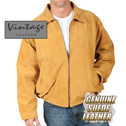 Cognac Suede Bomber Jacket&nbsp;&nbsp;Model#&nbsp;23730-COGNAC