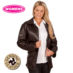 Womens Leather Patch Jacket  Model# D61-BROWN