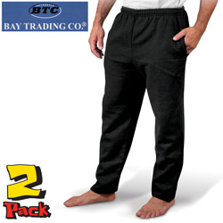 Mens 2 Pack Black Fleece Pants  Model# 1401-BLACK
