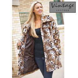 Womens Faux Leopard Coat  Model# 20135