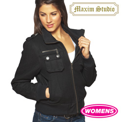 Womens Black Wool Bomber Jacket  Model# J-2828(BLACK)