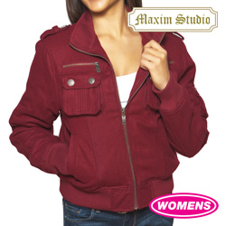 Womens Wine Wool Bomber Jacket  Model# J-2828(WINE)