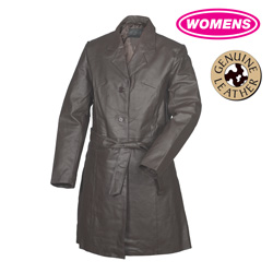 Womens Leather Trench Coat  Model#