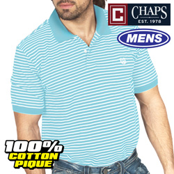 Chaps Light Blue Stripe Polo  Model# MS2CH-208-LT.BLUE