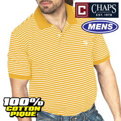 Chaps Orange Stripe Polo  Model# MS2CH-208-ORANGE
