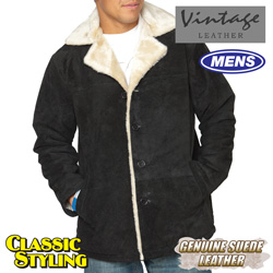 Suede Shearling Jacket - Black  Model# 23600-BLACK